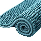 subrtex Bathroom Rugs Chenille Soft Short Plush Bath Mat Non-Slip Water Absorbent Shower Mat Quick Dry Machine Washable(Stone Blue,24' x 60')