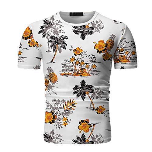 Camiseta de Cuello Redondo para Hombre, Estilo Hawaiano, Estampado Personalizado, elástico, Ajustado, Primavera y Verano, Camisetas de Manga Corta Medium