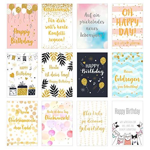 Edition Seidel Set 12 exklusive Premium Geburtstagskarten mit feiner Goldprägung und Umschlag. Glückwunschkarte Grusskarte zum Geburtstag. Geburtstagskarte Mann Frau Billet