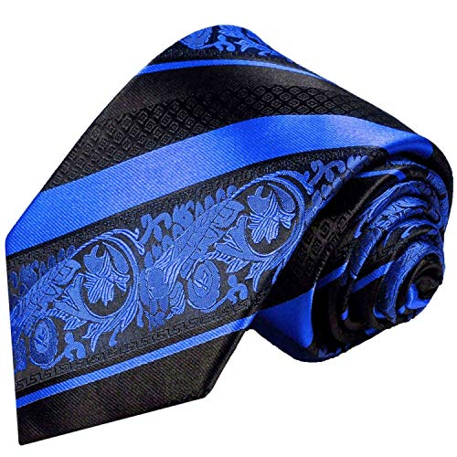Blue and Black Silk Tie and Pocket Square, Paul Malone Red Line