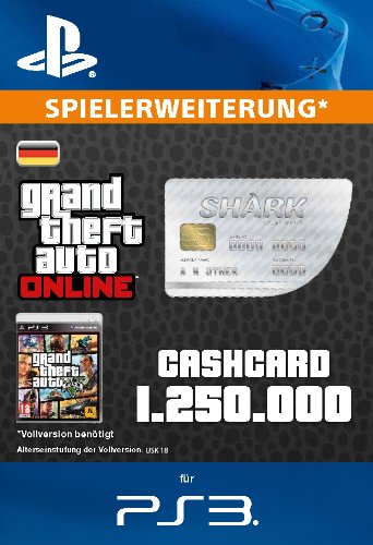 Grand Theft Auto Online | GTA V Great White Shark Cash Card | 1,250,000 GTA-Dollars | PS3 Download Code - deutsches Konto