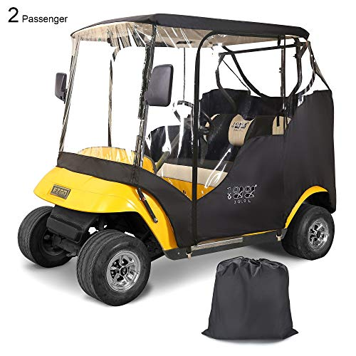 10L0L Golf Cart Enclosures 2 Passenger for EZGO TXT, Waterproof Portable Transparent Golf Cart Cover Storage Driving Enclosure - 4-Sided (Roof up to 58