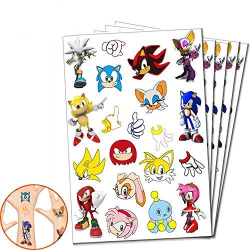 Suministros de tatuajes temporales de Sonic para decoraciones de fiesta de cumpleaños de Sonic Kids (5 hojas, 20 estilos)