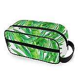 DOSHINE Bolsa de cosméticos portátil con Hojas de Palma Hawaiana, Bolsa de Maquillaje para Viajes, Bolsa de Aseo para Mujeres y niñas, para el hogar o al Aire Libre