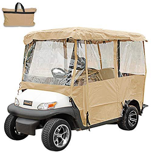 VEVOR Cubierta Funda para Carro de Golf Funda para Carro de Golf 4 Pasajeros Caja Conducción Funda Carro Golf Carritos Golf Eléctricos para EZ GO/Club Car/Yamaha de Color Crema
