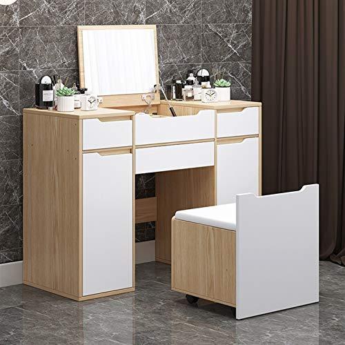 noyydh Tocador, Mobiliario de Dormitorio, Moderno Minimalista Make Up Table, múltiples cajones de Almacenamiento, con compone heces 108x40x80cm (Color : White)