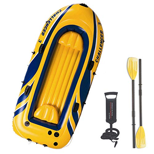 Kayak Hinchable, Bote Inflable con Remos, Bote + Remos + Bomba, Bote Hinchable para 3 Personas, Soporte hasta 255 KG,Amarillo