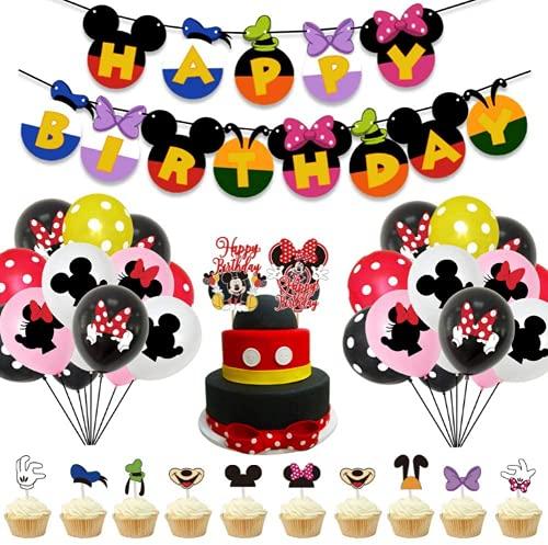 XYDZ 43 Piezas Mickey Minnie Party Decorations Decoraciones de Cumpleaños de Mickey Minnie Mouse Pancarta de Feliz Cumpleaños, Globos y Adornos para Tartas, para Cumpleaños, Fiesta, Baby Shower