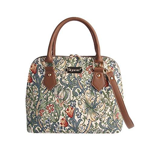 Signare Tapisserie Handtaschen Damen, Umhängetasche damen schultertasche damen und Umhängetaschen damen mit William Morris Designs (Goldene Lilie)