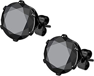 Stainless Steel Black IP Plated CZ Simulated Diamond Stud Earrings for Men