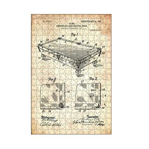 artboxONE-Puzzle M (266 Teile) Sport Billardtisch Patent (Antik) - Puzzle Billard billardtisch Blaupause