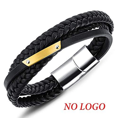 Ifabit armband van echt leer, met gravure naam, armband van roestvrij staal, voor heren, koord, knutselen, 21,5 cm, zonder logo
