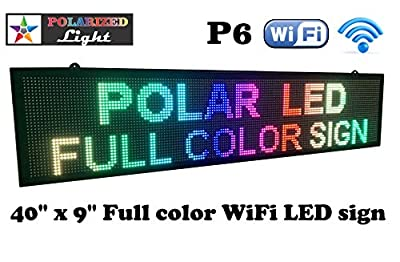 "WiFi P6 high Resolution LED Full RGB Color Sign 40"" x 9"" with high Resolution P6 160x32 dots and New SMD Technology. Perfect Solution for Advertising"