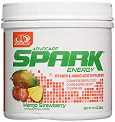 1 canister of AdvoCare spark mango strawberry flavor, 10.5 oz, 42 servings, 15 calories per serving Delivers energy and enhanced mental focus with 20 vitamins, minerals, and nutrients Contains an effective amount of caffeine to give you a quick boost...