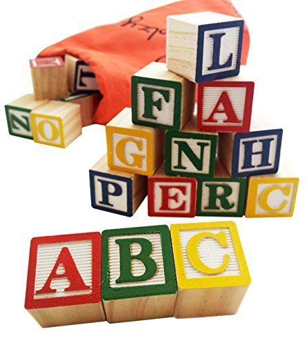30 Alphabet Blocks with Letters Colors. Wooden ABC Toddler, Preschool &...