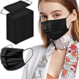 Black Face Masks, 100pcs Disposable Face Mask for Adult, 3 Ply Protection Safety Masks