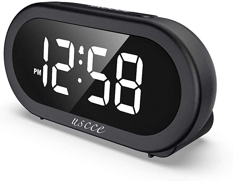 USCCE Small LED Digital Alarm Clock With Snooze Easy To Set Full Range Brightness Dimmer Adjustable Alarm Volume With 5 Alarm Sounds USB Charger 12 24Hr Compact Clock For Bedrooms Bedside Desk
