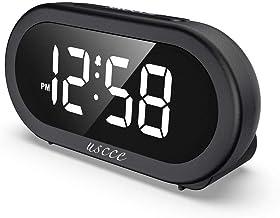 ساعت زنگ دار دیجیتالی LED کوچک USCCE با تعویق ، تنظیم آسان ، روشنایی کامل دامنه ، میزان زنگ هشدار قابل تنظیم با 5 صدای زنگ هشدار ، شارژر USB ، ساعت جمع و جور برای اتاق خواب ها ، کنار تختخواب ، کابوس