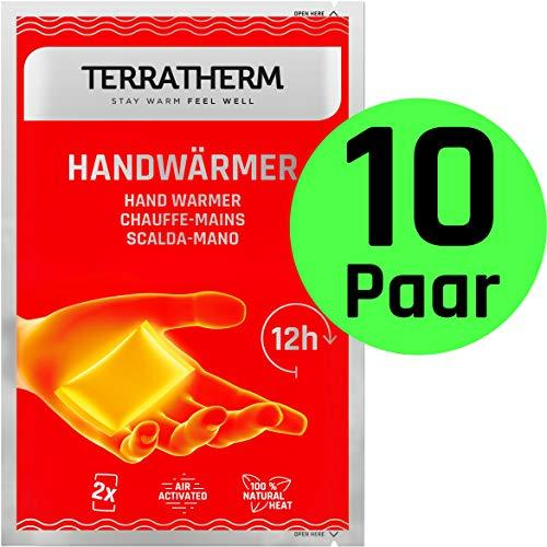 TerraTherm Handwärmer, Fingerwärmer für 12h warme Hände, Wärmepads Hand durch Luft aktiviert, 100{2cfe61424588aa5cd50328204a4ba9e099f1c40d6c3cf9bf794380d6c102fe17} natürliche Wärme, Taschenwärmer, 10 Paar