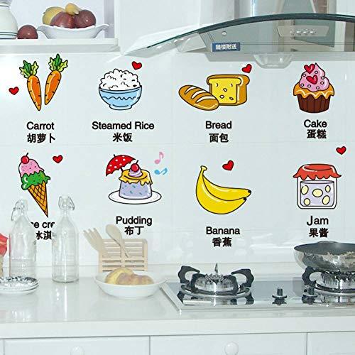 LKJUYHGS Muursticker Muurdecoraties Leuke Voedsel Keuken Stickers Pvc Materiaal Creatieve Cartoon Muurstickers Voor Koelkast Kast Tegel Cup Decoratie