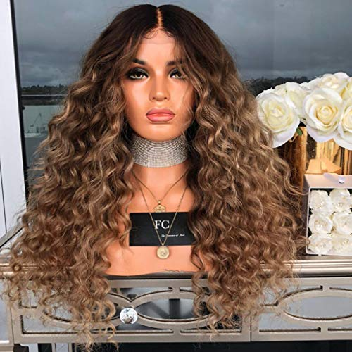Full Lace Long Hair Wig Synthetic Curly Wavy Wig Middle Parting Body Wavy Hair,Cosplay Party,9A Grade Virgin Hair,Heat Resistant Fiber,28inch (B)