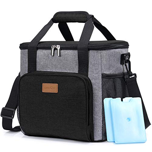 Lifewit Soft Cooler Bag Insulated Lunch Bag Box Soft Cooling Tote with 2 Ice Packs Grey