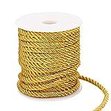 PandaHall Cuerda trenzada de 59 pies, cordón de poliéster de 3 capas de 5 mm para decoración del hogar, manualidades, disfraces, alzapaños de cortina, cordón de honor, tapicería (barra dorada)
