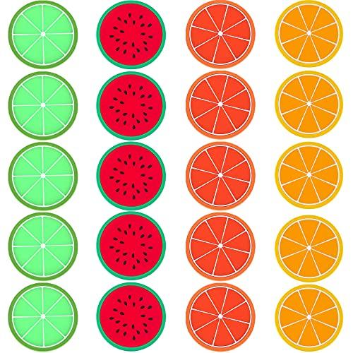 Silicone Sottobicchieri Tondi Antiscivolo Frutta Silicone Sottobicchiere Adatto A Tutti I Tavoli,Protezione Desktop Di Tavoli In Legno,Sottobicchieri Morbidi Per Tutti I Bicchieri Da Vino,20 Pezzi