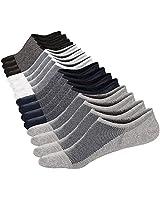UK Shoe size 8-10 La Dearchuu Mens Cotton no Show Socks Low Cut Invisible Ankle Socks with non slip grip Mens Shoe Liner Socks