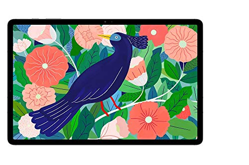 Samsung Galaxy Tab S7+, Android Tablet mit Stift, WiFi, 3 Kameras, großer 10.090 mAh Akku, 12,4 Zoll Super AMOLED Bildschirm, 256 GB/8 GB RAM, Tablet in silber
