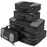 Savisto Packing Cubes, 6-teiliges Packtaschen Set für Urlaub, Reisen, Flugreisen - Ordnungssystem für Koffer, Handgepäck, Trolley, Reisetasche und Rucksack - Packwürfel S/M/L/XL (6 Pack) - Schwarz