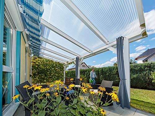 Terrassendach Terrassenüberdachung Carport Komplettset Acrylglas 16/32 Farblos Stegplatten Tiefe:5000mm|Breite:2080mm - Mehrere Maße verfügbar