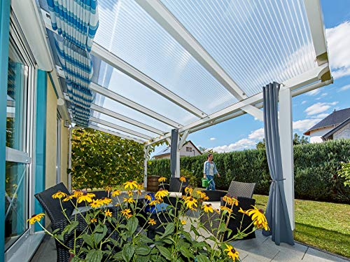 Terrassendach Terrassenüberdachung Carport Komplettset Acrylglas 16/32 Farblos Stegplatten Tiefe:2500mm|Breite:6120mm - Mehrere Maße verfügbar
