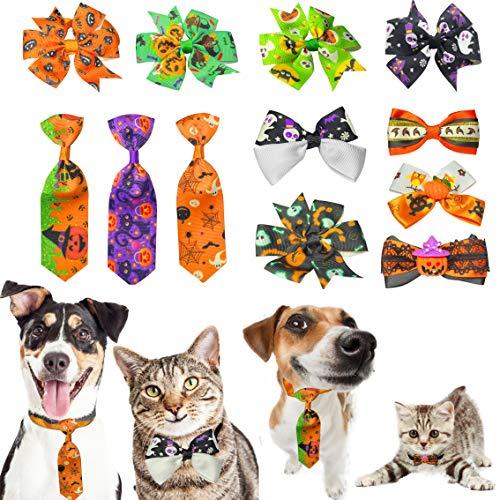 Finding Laurel Halloween Dog Collar, 12 PCS Halloween Bow Ties for Dogs, Adjustable Pumpkin Skull Bowties Neckties Cat Halloween Costumes (12 Mix Color)