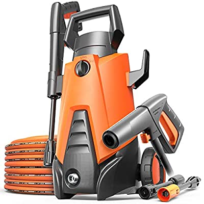 QXMEI High Pressure Washer Waterproofing System 3-in-1 Nozzle Pressure Cleaning Machine 75bar -110bar 5L/min Flow - 1400W Portable Electric High Pressure Cleaner,Orange-E by QXMEI