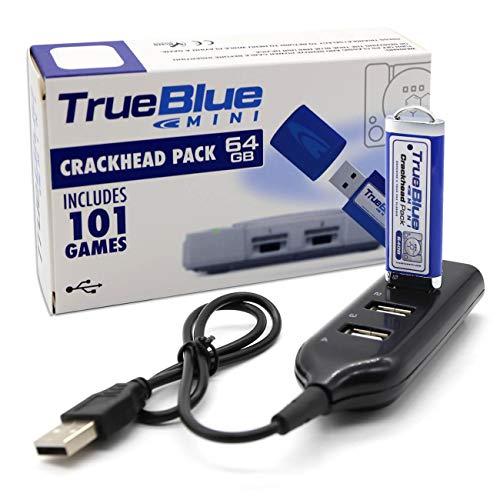 The perseids Kompatibel mit Ps Game Console, True Blue Mini Crackhead Pack, 64GB USB Spiele Speicherstick mit 4-Port Hub - 101 Spiele