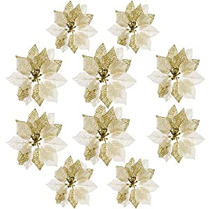 10 Pcs Glitter Poinsettia Christmas Flowers, Christmas Tree Ornaments , Artificial Xmas Flowers, Christmas Tree Decorations (Champagne)