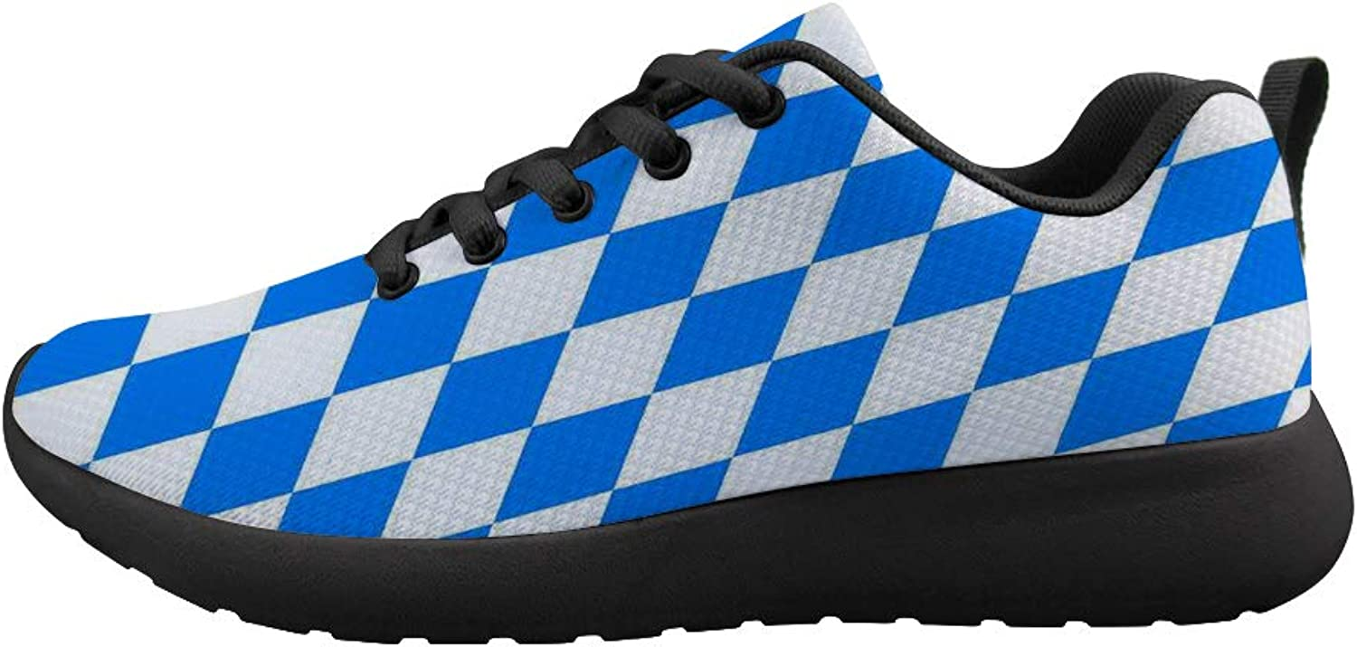 Owaheson Cushioning Sneaker Trail Running shoes Mens Womens bluee White Diamond Bavarian Flag