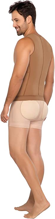 Post Op Shapewear Vest Men Fajas Colombianas Equilibrium Para Hombre 2 Hooks Ref C9006 M, Mocca