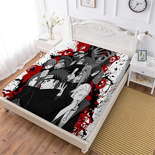 MEW Anime Akatsuki Naruto Bedding Fitted Sheets, Soft Decorative Fabric Bedding All-Round Elastic Pocket,Queen - 71x78 inches,Gift for Teenagers and Adults