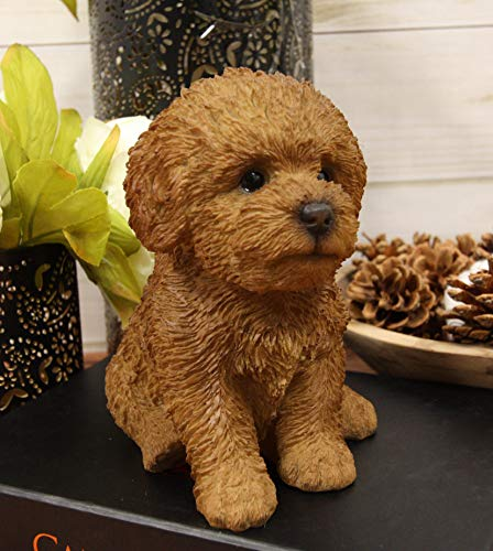 Ebros Sitting Lifelike Realistic Brown Bichon Frise Puppy Dog Statue 6.75' High Pure Pedigree Dog Breed Collectible Decor with Glass Eyes As Animal Pet Decorative Figurine Bichons Dogs