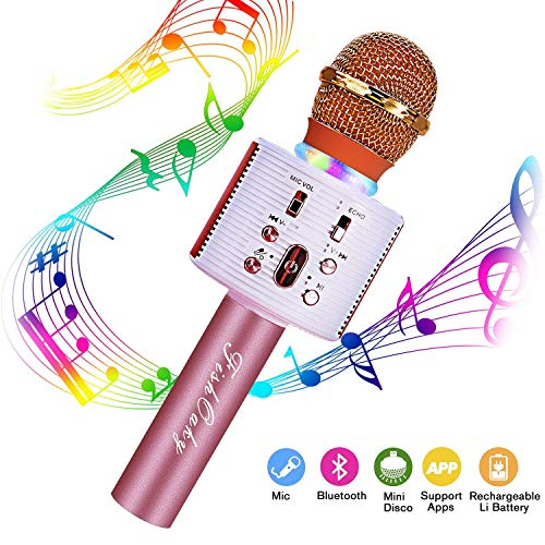 FishOaky Wireless Bluetooth Karaoke Microphone, Portable Kids Microphone Karaoke Player Speaker with LED & Music Singing Voice Recording for Home KTV Kids Outdoor Birthday Party (Rose Gold)