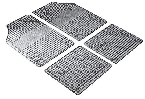 Walser 28053 Universal Auto Gummimatten, Fußmatten, Schmutzfangmatte, 4-teilig, zuschneidbar, weiß schwarz
