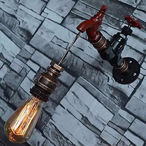 seveni Lámparas de Pared industriales contratadas de Hierro Forjado Tubo de Agua Grifo Colgante Lámpara de Pared LED Vintage Interior Retro Tap Loft Style Aplique de Pared