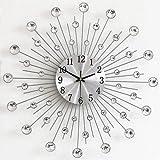 N / B Orologio da parete in argento con numeri arabi silenziosi, per soggiorno, camera da letto, cucina, decorazione della casa, 50 cm