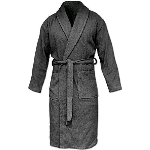 HOMELEVEL Accappatoio da viaggio in spugna, 100% cotone, taglie S-6 XL, per donne, uomini e donne, taglie forti, per sauna, viaggio antracite. XXXXXL