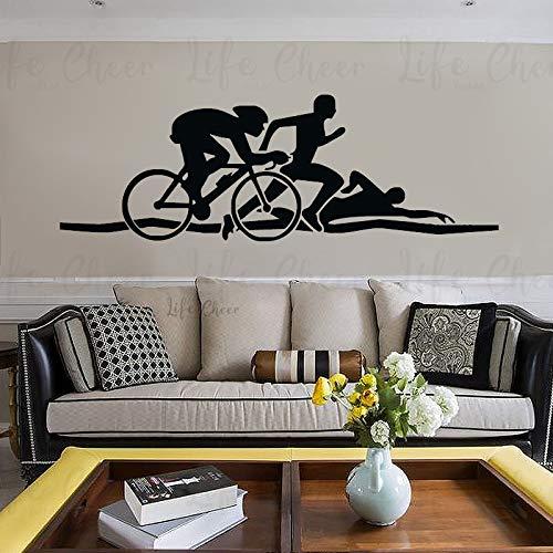 BailongXiao Pegatinas de Pared de triatlón Bicicleta natación Correr Deportes Vinilo calcomanías de Pared Salud Fitness Mural Atletas hogar Pegatinas de Pared de Interior