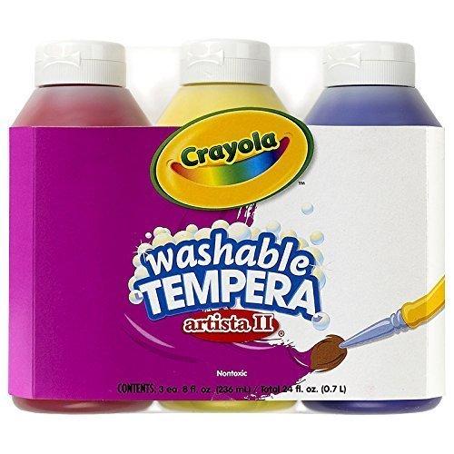 Crayola Artista Ii Washable Tempera Paint 8oz 3/Pkg-Primary
