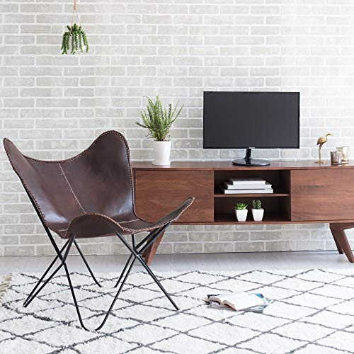 MH London Butterfly Chair - Genuine Leather - Handmade, Solid Iron Frame - Industrial Lounge Chair - Modern Iconic Recliner - 32.29 x 28.75 x 27.15 - Montreux, Brown