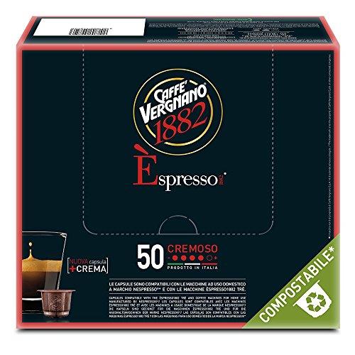 Caffè Vergnano 1882 Èspresso Cremoso, 50 Capsule, Compatibili Nespresso, Compostabili